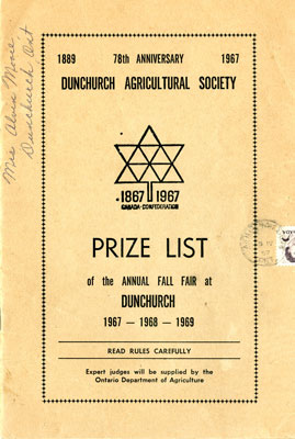 Prize Lists of the Annual Fall Fair at Dunchurch 1967, 1968, 1969