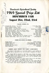 1969 Special Prize List, Dunchurch Fair, August 21st, 22nd, and 23rd