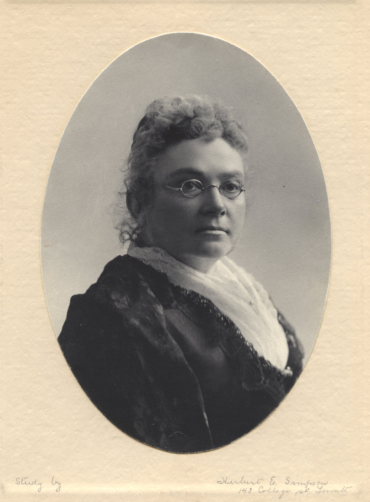 Black and white studio portrait of Emily Stowe.  Courtesy the Wilfrid Laurier University Archives.
