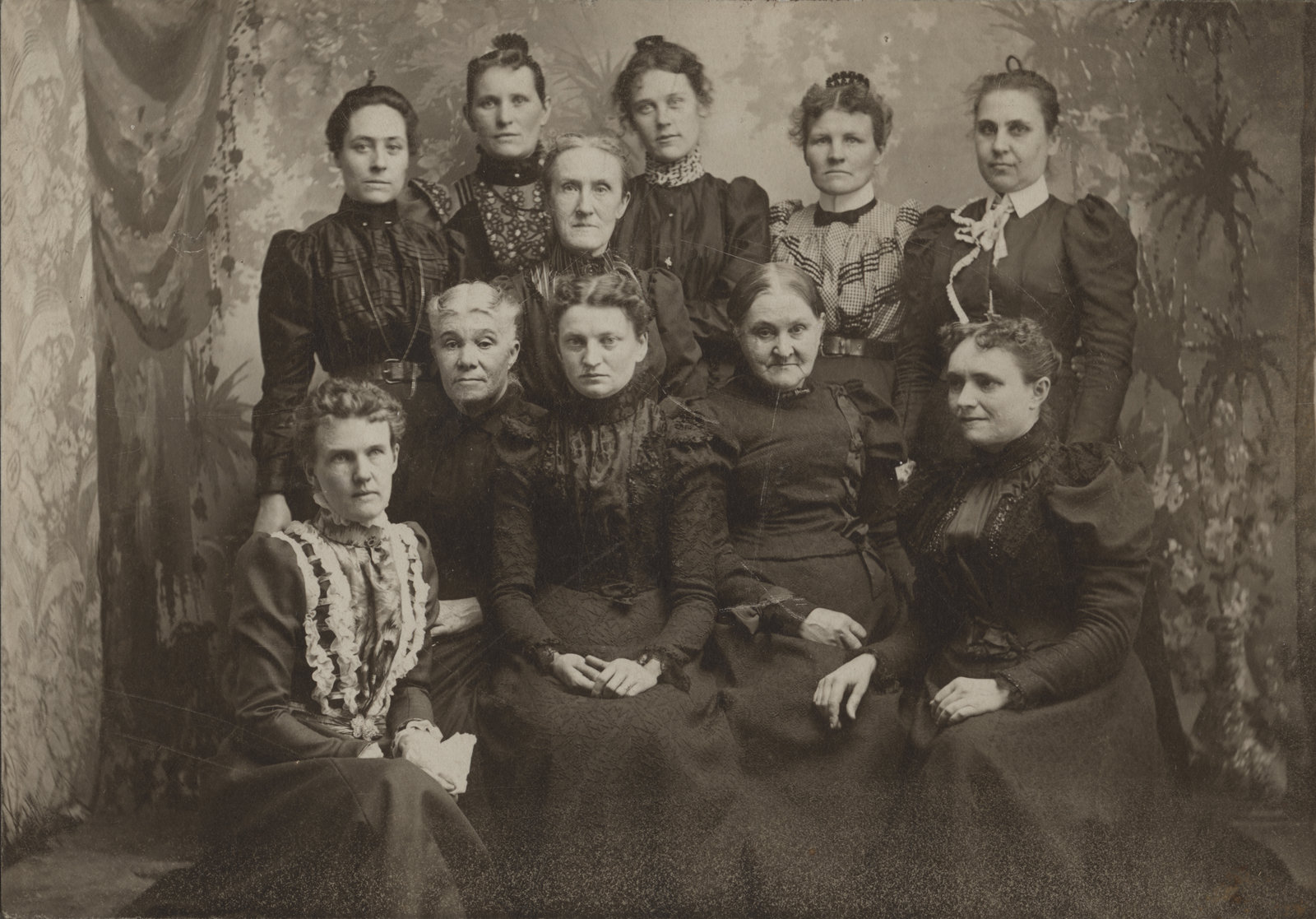 These women may be members of the Women's Missionary Society of the Evangelical Lutheran Church, around the turn of the century. Courtesy the Wilfrid Laurier University Library.