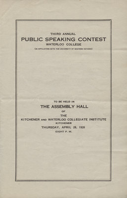 Third annual public speaking contest, Waterloo College (in affiliation with the University of Western Ontario), Waterloo