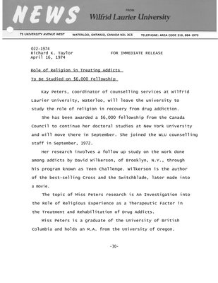 022-1974 :  Role of religion in treating addicts to be studied on $6,000 fellowship