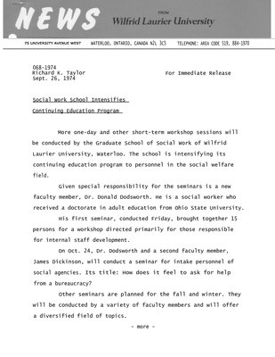 068-1974 : Social Work School intensifies continuing education program