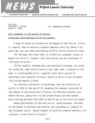 021-1976 : Vita Laudanda : a life worthy of praise celebrates contributions of Ulrich Leupold