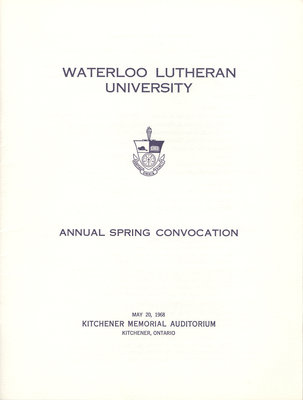 Waterloo Lutheran University spring convocation 1968 program