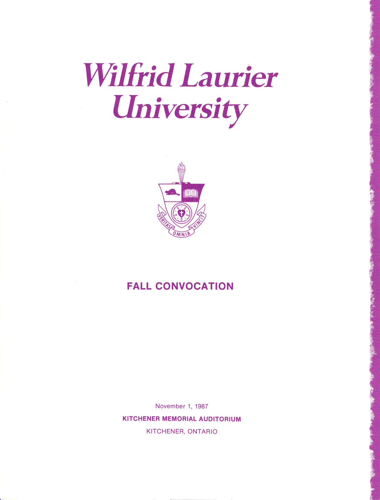 Wilfrid Laurier University fall convocation 1987 program