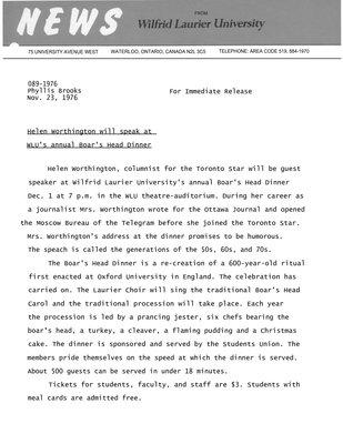 089-1976 : Helen Worthington will speak at WLU's annual Boar's Head Dinner