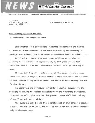 014-1977 : New building approved for WLU as replacement for temporary space