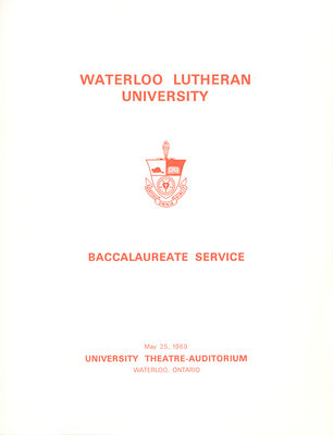 Waterloo Lutheran University baccalaureate service program, spring 1969