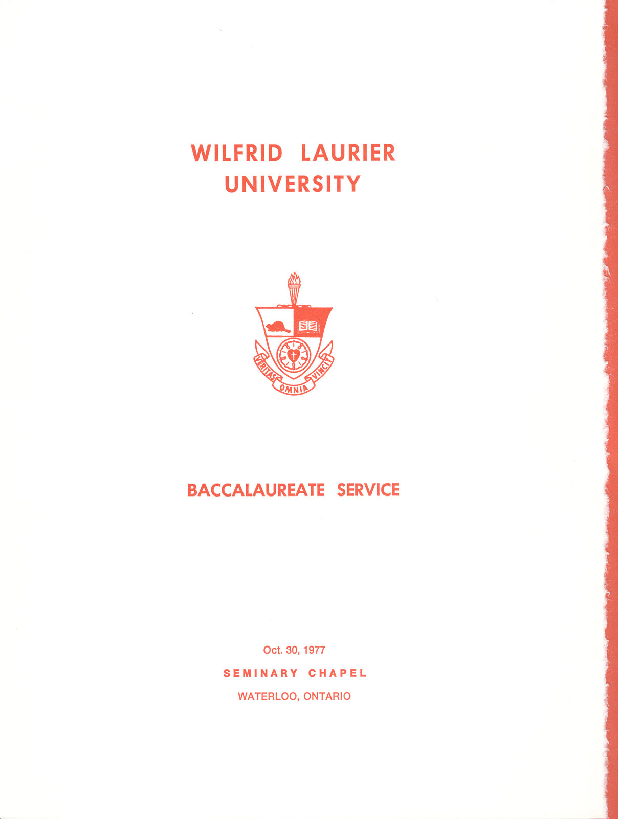 Wilfrid Laurier University baccalaureate service program, fall 1977