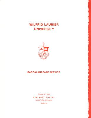 Wilfrid Laurier University baccalaureate service program, fall 1985