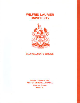 Wilfrid Laurier University baccalaureate service program, fall 1995