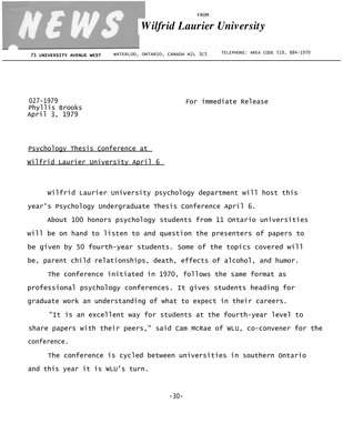 027-1979 : Psychology thesis conference at Wilfrid Laurier University April 6