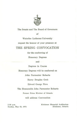 Waterloo Lutheran University convocation invitation, spring 1971