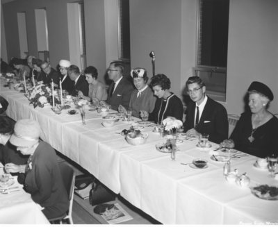 Women's Auxiliary of Waterloo Lutheran University annual meeting banquet, 1963