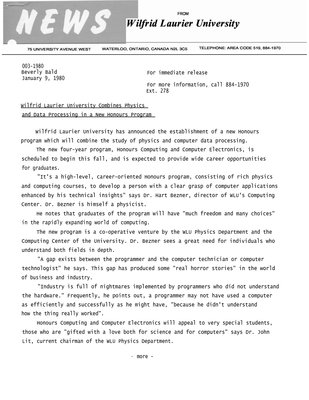 003-1980 : Wilfrid Laurier University combines Physics and Data Processing in a new honours program