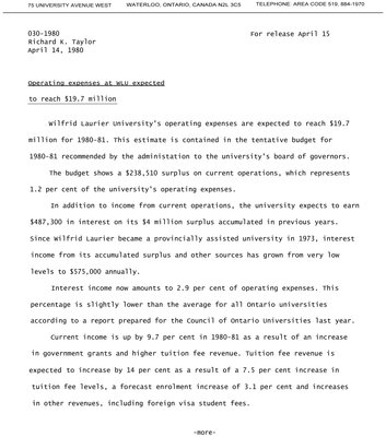 030-1980 : Operating expenses at WLU expected to reach $19.7 million