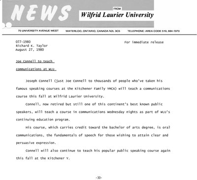 077-1980 : Joe Connell to teach communications at WLU