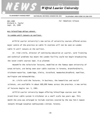 083-1980 : WLU Telecollege delays advent in London until January at earliest