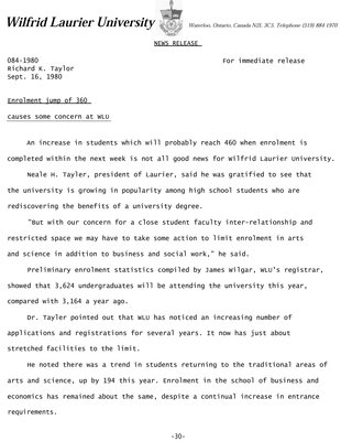 084-1980 : Enrolment jump of 360 causes some concern at WLU