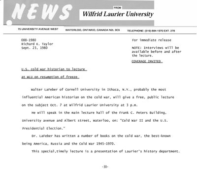 088-1980 : U.S. Cold War historian to lecture at WLU on resumption of freeze