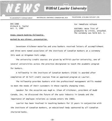 095-1980 : Steps toward banking fellowship marked by WLU dinner, presentation