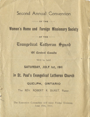 Second annual convention of the Women's Home and Foreign Missionary Society of the Evangelical Lutheran Synod of Central Canada, 1911