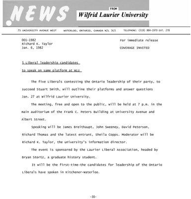 001-1982 : 5 Liberal leadership candidates to speak on same platform at WLU