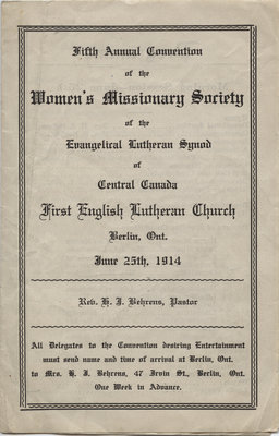 Fifth annual convention of the Women's Missionary Society of the Evangelical Lutheran Synod of Central Canada, 1914