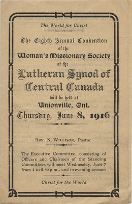 Eighth annual convention of the Women's Missionary Society of the Evangelical Lutheran Synod of Central Canada, 1916