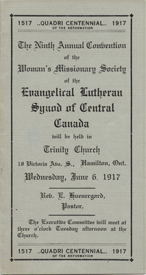 Ninth annual convention of the Women's Missionary Society of the Evangelical Lutheran Synod of Central Canada, 1917