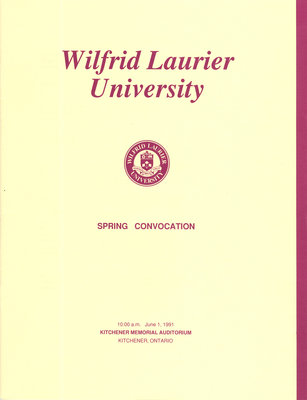 Wilfrid Laurier University spring convocation program, June 1 1991, 10:00 a.m.