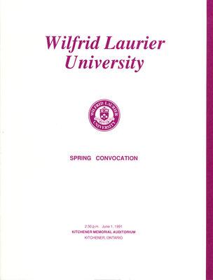 Wilfrid Laurier University spring convocation program, June 1 1991, 2:30 p.m.