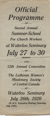 Second annual Summer School for Church Workers and twelfth annual convention of the Women's Missionary Society of Central Canada, 1920