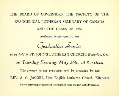 Evangelical Lutheran Seminary of Canada graduation service invitation, 1936
