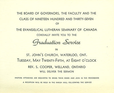 Evangelical Lutheran Seminary of Canada graduation service invitation, 1937
