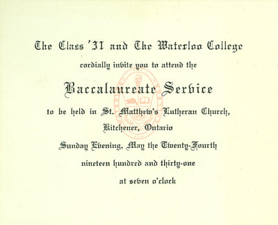 Waterloo College baccalaureate service invitation, 1931