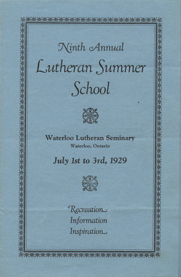 Ninth annual Lutheran Summer School program, 1929