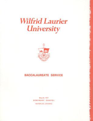 Wilfrid Laurier University baccalaureate service program, spring 1977