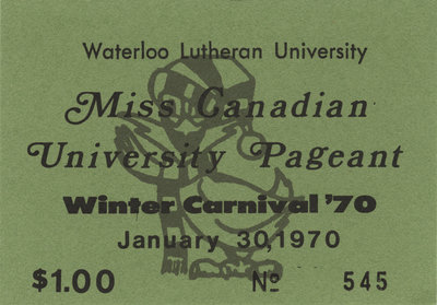1970 Miss Canadian University Pageant ticket