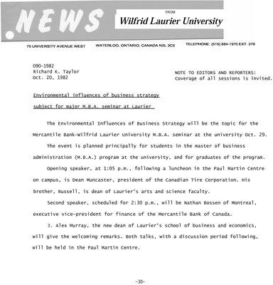090-1982 : Environmental influences of business strategy subject for major M.B.A. seminar at Laurier