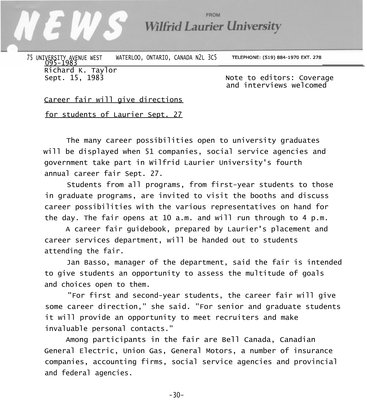 095b-1983 : Career fair will give directions for students of Laurier Sept. 27