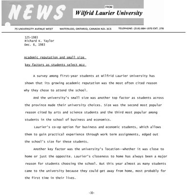 125-1983 : Academic reputation and small size key factors as students select WLU