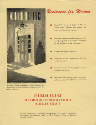 Waterloo College residence for women promotional material