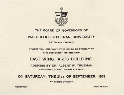 invitation to the dedication of the east wing of the arts building
