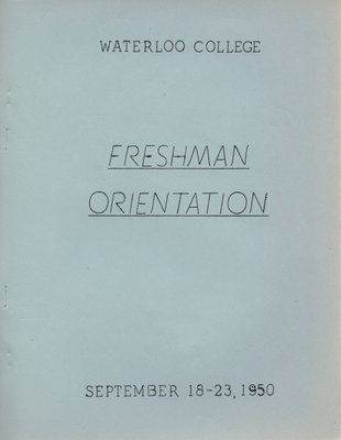 Waterloo College Freshman Orientation booklet, September 18-23, 1950