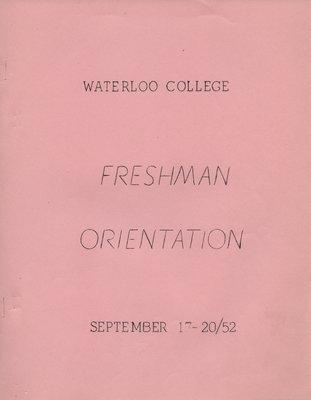 Waterloo College Freshman Orientation booklet, September 17-20, 1952