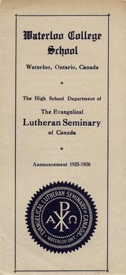Waterloo College School announcement, 1925-26