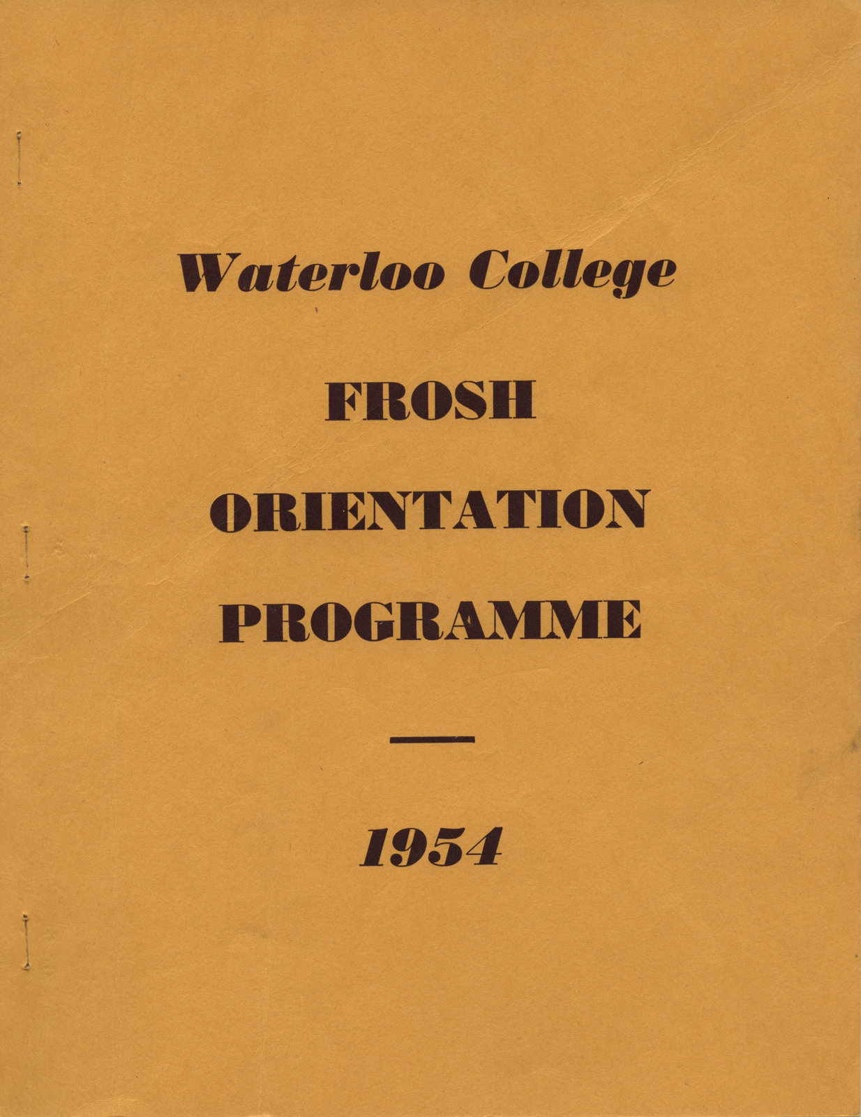 Waterloo College frosh orientation programme, 1954