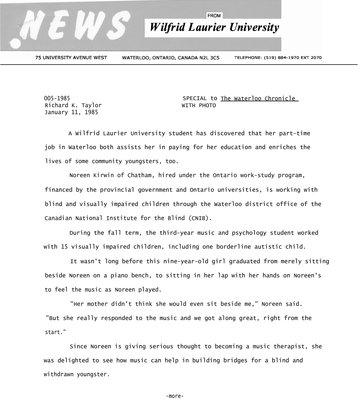 005-1985 : [Wilfrid Laurier University student Noreen Kirwin]